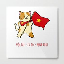 Cat Vietnam Viet nam Flag Kitty Funny Gift Black T-Shirt Metal Print