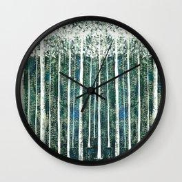 Hand Painted Green Christmas Jungle Wall Clock