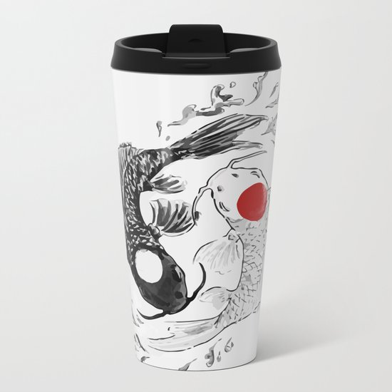 Koi fish ying yang Metal Travel Mug
