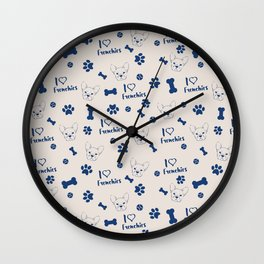 Cute ivory navy blue love Frenchie bulldog typography Wall Clock