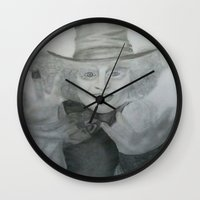 mad hatter Wall Clocks featuring Mad hatter by _littlevoice