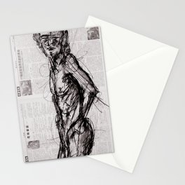Saint - Charcoal on Newspaper Figure Drawing Stationery Cards