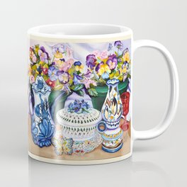 Pansies and Teapot oil Still Life Coffee Mug