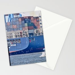 Container Ship, Port, Hamburg, Elbe, Container, Tug. Vintage. Retro. Illustration.  Stationery Cards