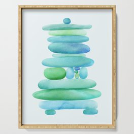 Sea Glass Cairn Watercolor Serving Tray