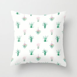Watercolor Tilandsia Airplant White Throw Pillow