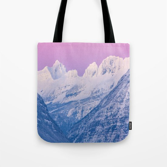 Pink Sunset Mountains Tote Bag