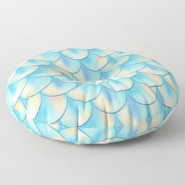 Teal Green Mermaid Pattern, Holographic Fish Scale Print Floor Pillow