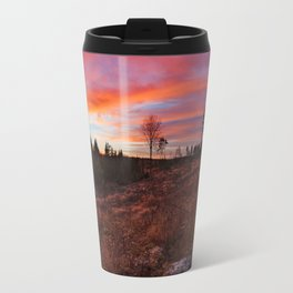 Beautiful vibrant sunset clouds view landscape in Finland Travel Mug