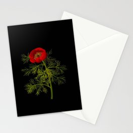 Paeonia Tenuifolia Mary Delany Vintage British Floral Flower Paper Collage Black Background Stationery Cards