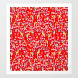 Tulips in red Art Print