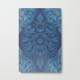 Aqua, Cobalt Blue & Purple Protea Doodle Pattern Metal Print