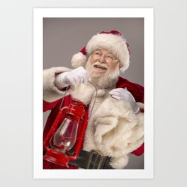 Santa Claus carrying a lantern Art Print