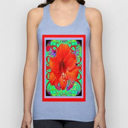 Italian  Style Design Red Amaryllis Abstract Unisex Tank Top