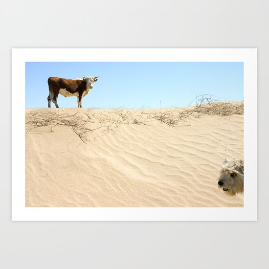 Cow Meets Dog Art Print