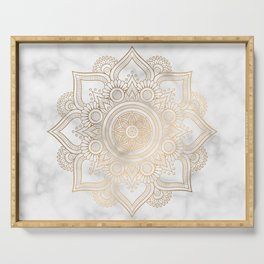 Marble Gold Mandala Design Serving Tray