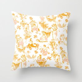 Astrology-Inspired Zodiac Gold Toile Pattern Throw Pillow