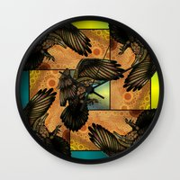 raven Wall Clocks featuring Raven by Alohalani
