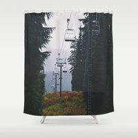 ski Shower Curtains featuring Ski Lift by Hannah Kemp
