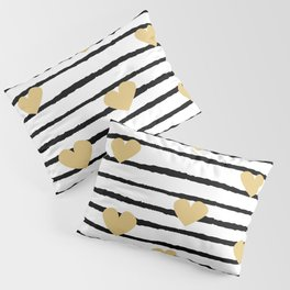 cute pattern with hand drawn gold hearts on black and white stripes Pillow Sham