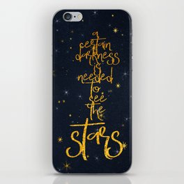 Darkness-Stars - sparkling night gold glitter effect typography on #Society6 iPhone Skin
