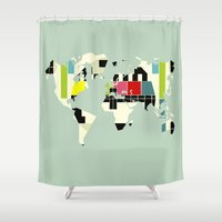 yetiland Shower Curtains featuring This is not a test by Yetiland