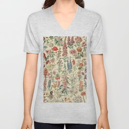 Vintage Floral Drawings // Fleurs by Adolphe Millot XL 19th Century Science Textbook Artwork Unisex V-Neck