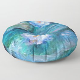 Blue Water Lilies Floor Pillow