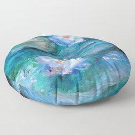 Blue Water Lilies Floor Pillow