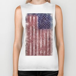 US Flag vintage worn out Biker Tank