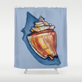 Shell Two in Blue Shower Curtain