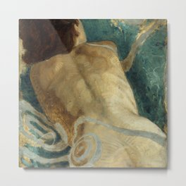 Backlite Nude Figure Oil painting Turquoise of Woman Metal Print
