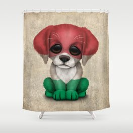 Cute Puppy Dog with flag of Hungary Shower Curtain