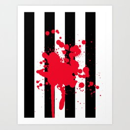 Black and White and Red All Over Art Print
