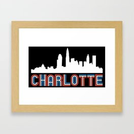 Red White Blue Charlotte North Carolina Skyline Framed Art Print