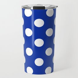 Egyptian blue - White Polka Dots - Pois Pattern Travel Mug