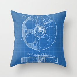 Film Reel Patent - Classic Cinema Art - Blueprint Throw Pillow