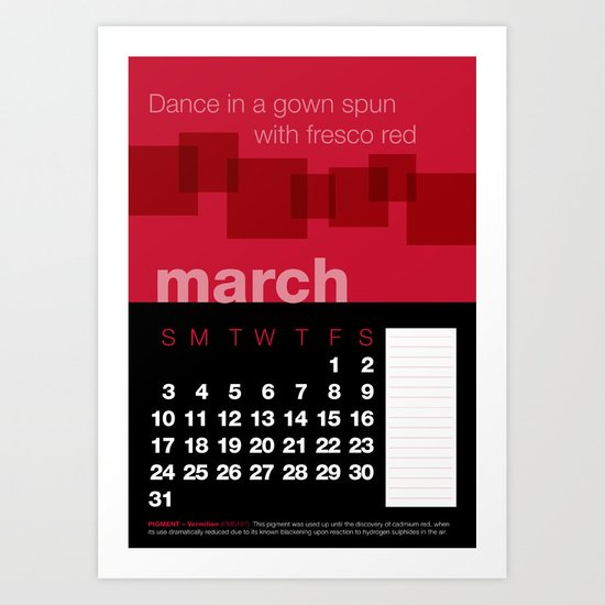 2013 Pigment to Pantone Calendar – MARCH Art Print
