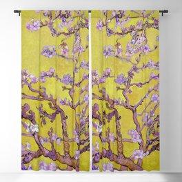 "Vincent van Gogh ""Almond Blossoms"" (edited gold) Blackout Curtain"