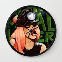 heavy metal Wall Clocks featuring Heavy Metal Lover by Helen Green