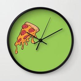 Cheesy Pepperoni Pizza Slice Wall Clock