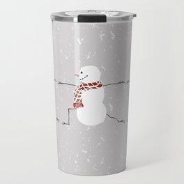 Snowman yoga - Warrior II Travel Mug