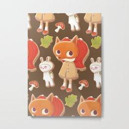 Woodland animal decorated cookies Metal Print