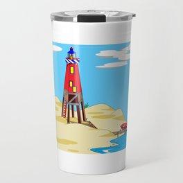 A Lighthouse on a Sandy Beach on a Sunny Day Travel Mug
