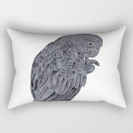 Nibbling Black Cockatoo Rectangular Pillow