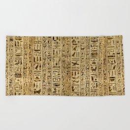 Egyptian hieroglyphs on papyrus Beach Towel