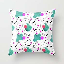 Hello Cactus White Background Throw Pillow