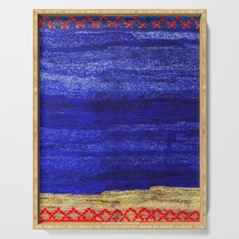 V24 New Blue Calm Traditional Moroccan Carpet Texture. Serving Tray