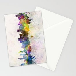 Ho Chi Minh skyline in watercolor background Stationery Cards