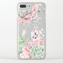 Pink Succulents on Cream Clear iPhone Case